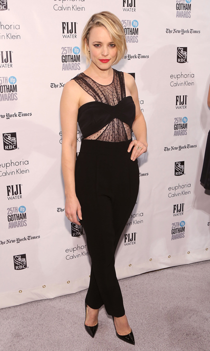 Noam Hanoch was behind the striking black jumpsuit Rachel McAdams donned for the Gotham Awards. The number was anything but dull thanks to a bandeau top with a sheer, ruched polka-dot underlay. 