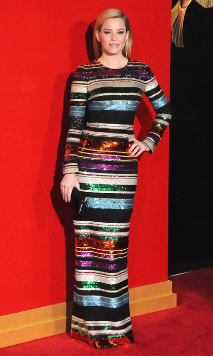 If you're going black tie to ring in 2016 why not take inspiration from Elizabeth Banks's multi-coloured, striped showstopper and start the new year with a bang!