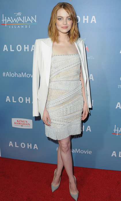 For the more demure reveller who still wants to flaunt her fashion prowess, Emma Stone premiered 'Aloha' in a perfectly demure fringed dress with grey pumps and a white tuxedo jacket. Simple hair and makeup let the intricate dress do the talking (without shouting!).