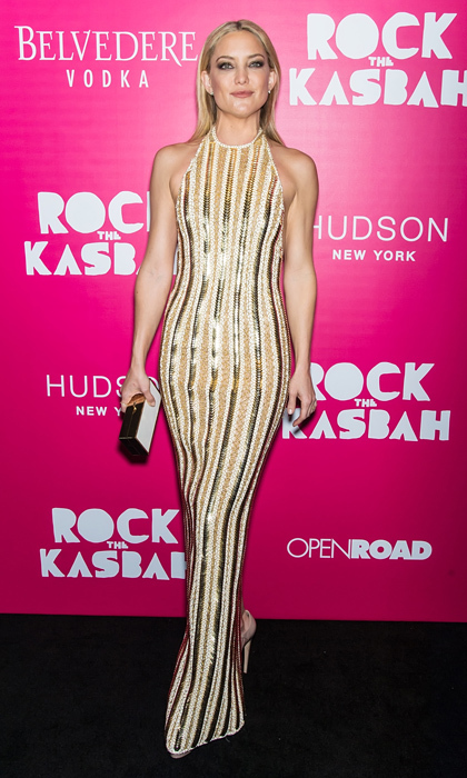 Vertical lines like the ones on Kate Hudson's gown elongate the body and flatter just about any figure. Plus, with sequin detailing, this dress is crying out for a dance floor!
