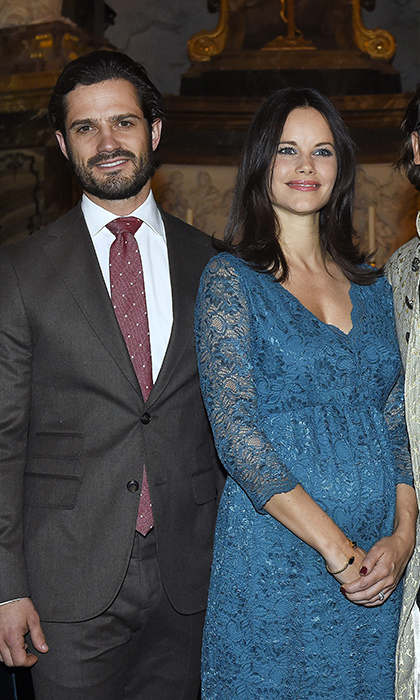 The expectant mom looked positively radiant showing off her new lob hairstyle and growing bump in a blue lace gown at the Christmas in Vasastan concert at the Gustaf Vasa Church in Stockholm.