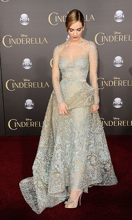 Lily James in Elie Saab at the première of <em>Cinderella</em>.<p>Photo: © Getty Images</p>