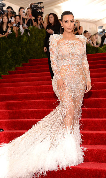 Kim Kardashian in Roberto Cavalli at the Met gala.