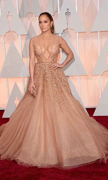 Jennifer Lopez in Elie Saab at the Oscars.