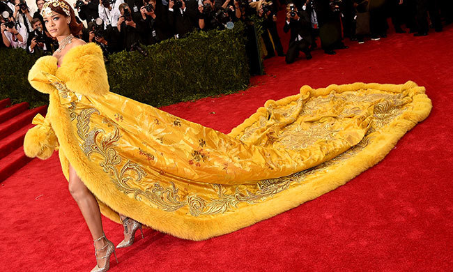 Rihanna in Guo Pei at the Met gala.
