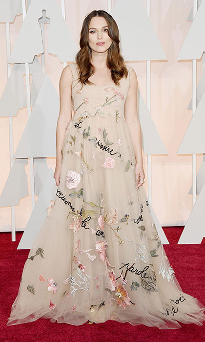 Keira Knightley in Valentino at the Oscars. 