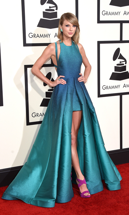 Taylor Swift in Elie Saab at the Grammy Awards. 