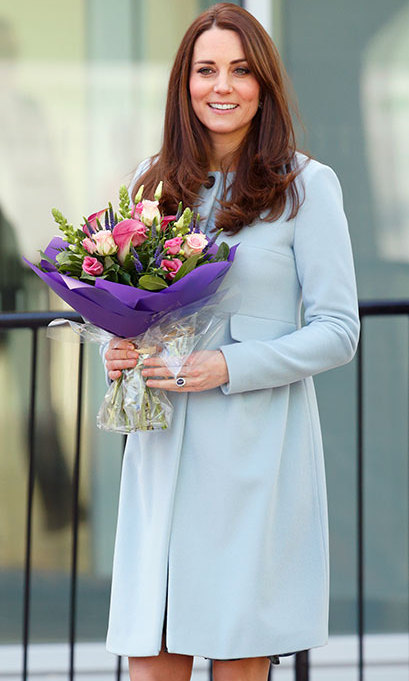 Six months into her second pregnancy, Kate wrapped up in a coat from maternity brand Seraphine when she visited the new Kensington Leisure Centre on Jan. 19.