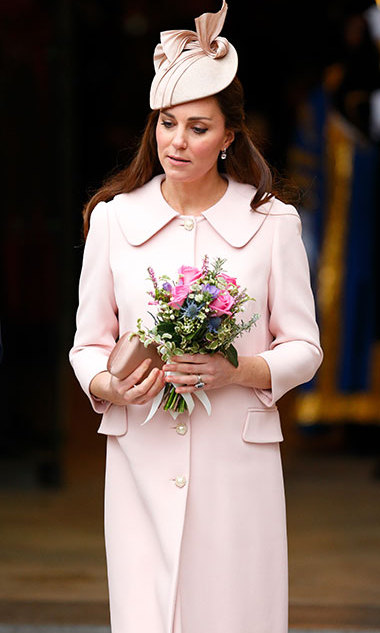Kate looked stunning in pale-pink Alexander McQueen at the Observance for Commonwealth Day Service in Westminster Abbey on March 9.