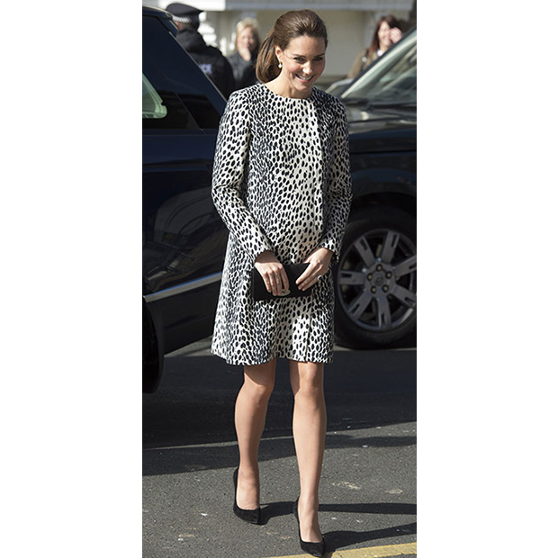 Sporting a Dalmatian-print coat by Hobbs, the duchess visited the Resort Studios in Cliftonville on March 11.