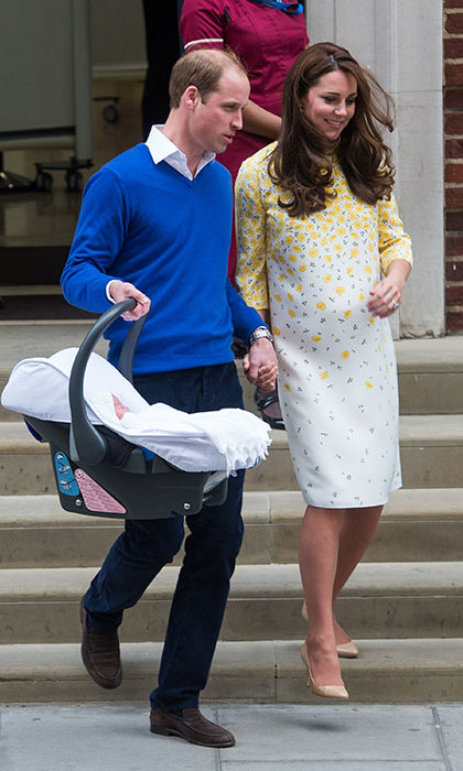 With her husband and newborn daughter in tow, Kate left St. Mary's Hospital wearing a floral Jenny Packham sheath on May 2.  