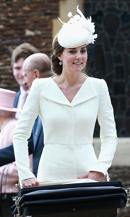 In white Alexander McQueen at Princess Charlotte's christening service in Sandringham on July 5.