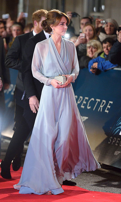 The royal ruled the <em>Spectre</em> red carpet at Royal Albert Hall in a delicate chiffon creation by Jenny Packham. 