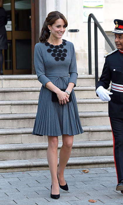 The duchess opted for a familiar pleated Orla Kiely number for an official duty in London on Oct. 27. Kate first wore this ensemble in 2012.