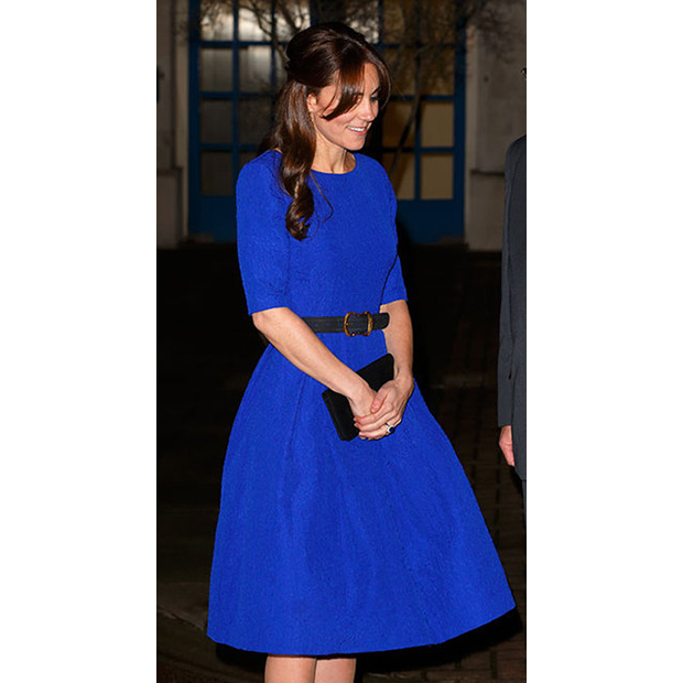 The duchess was the picture of elegance in cobalt-blue Saloni at the Fostering Excellence Awards on Nov. 17.