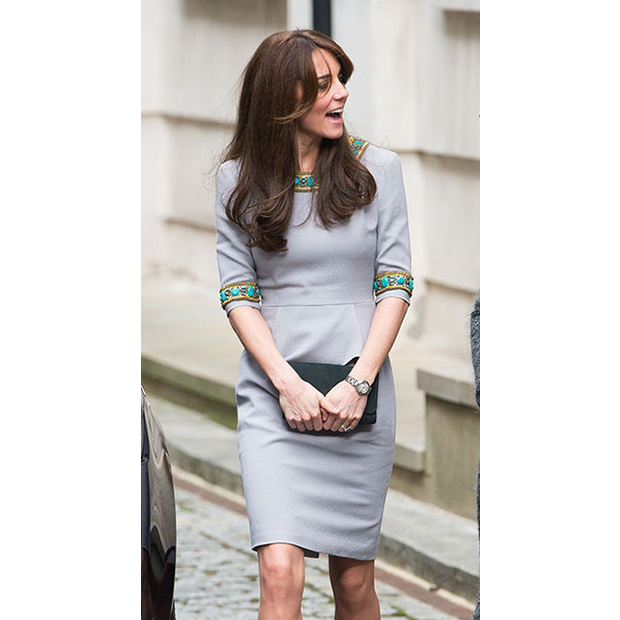 Kate again wore her grey Matthew Williamson dress with intricate beading detail to give a speech at the Place2Be Headteacher conference in London on Nov. 18.