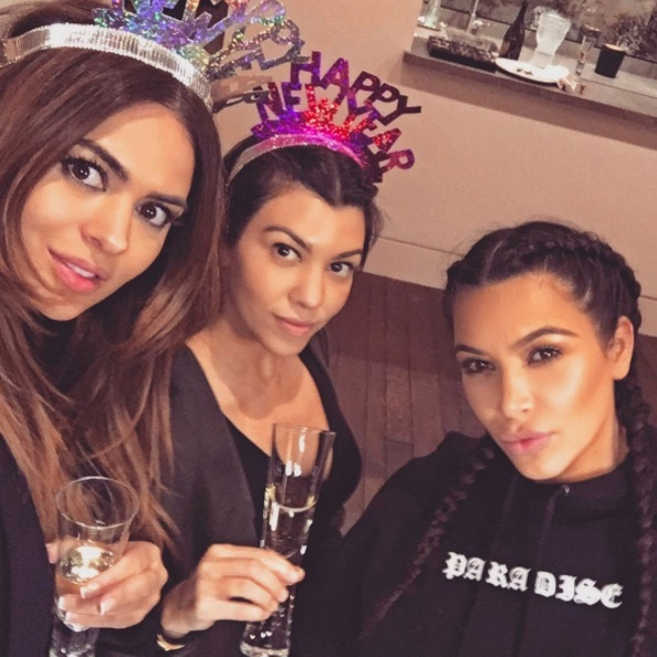 Kim Kardashian enjoyed a quiet night at home with her family, including her newborn son, Saint. 