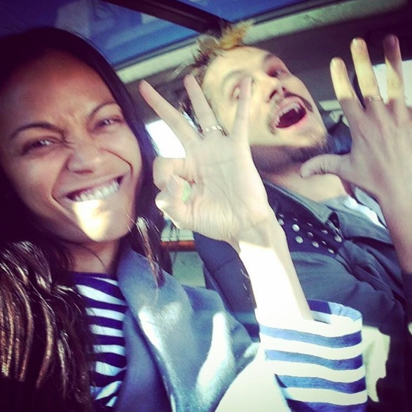Zoe Saldana and her husband, Marco, celebrated the new year and hitting 800,000 followers on Instagram.