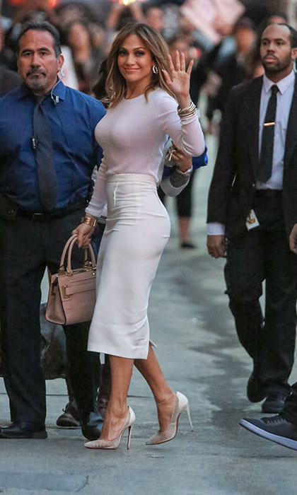 Jennifer Lopez proves she's ageless as she arrives at <em>Jimmy Kimmel Live</em> wearing a stunning, form-fitting, blush-coloured ensemble. She's currently promoting her new show <em>Shades of Blue</em>.