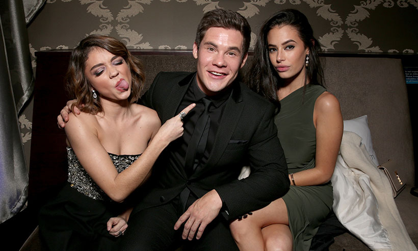 Sarah Hyland, Adam DeVine and Chloe Bridges hammed it up for photographers at DailyMail's People's Choice Awards after party at Club Nokia.