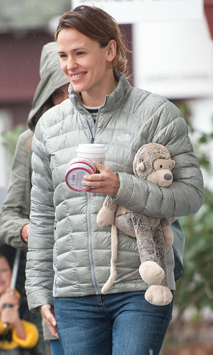 Jennifer Garner was all smiles as she walked around Los Angeles carrying (we assume!) one of her children's stuffed animals.