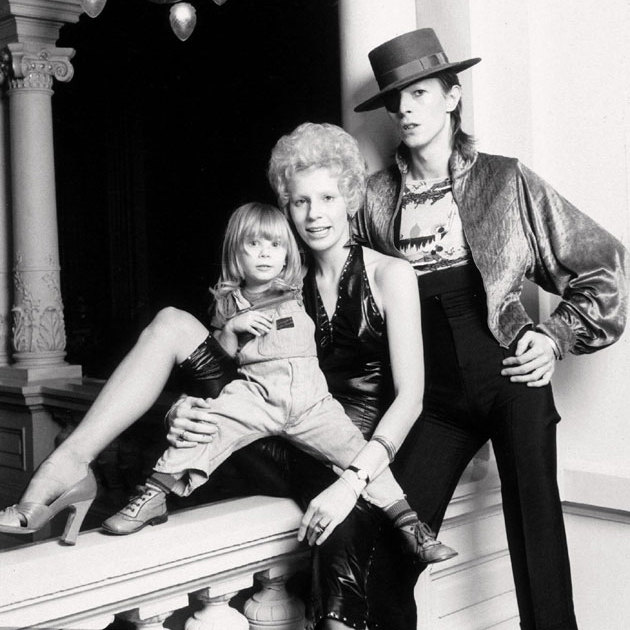 David pictured with his first wife, Angie Bowie, and their son, who was then known as Zowie and now goes by the name Duncan, in 1974.