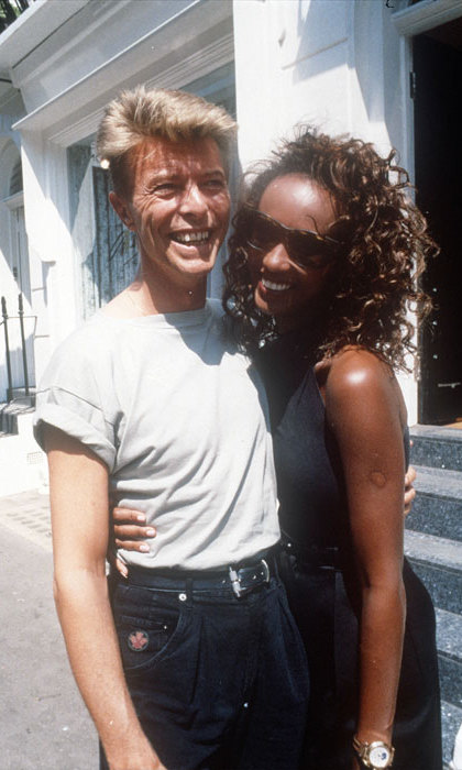 David Bowie and model Iman announced their engagement in 1991. Here, the happy couple are pictured in London.