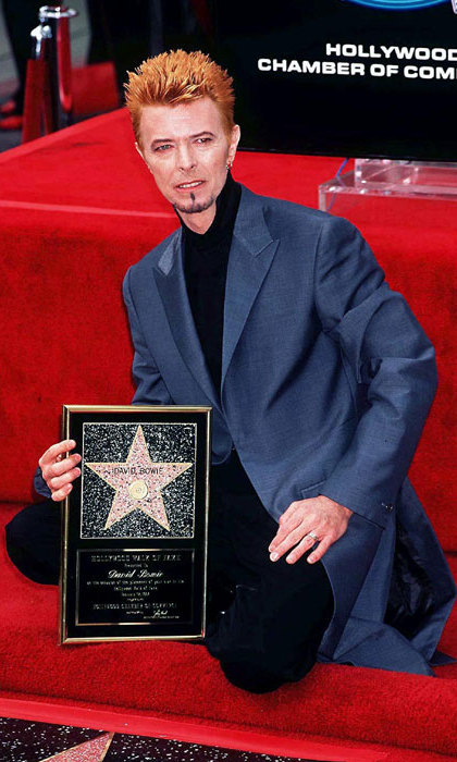 The music legend receives his star on the Hollywood Walk of Fame in Los Angeles in 1997.