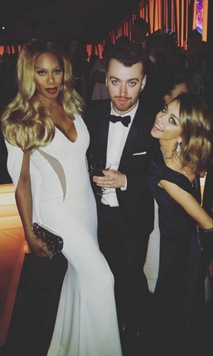 <i>Orange is the New Black</i>'s Laverne Cox and <i>Modern Family</i>'s Sarah Hyland helped Sam Smith celebrate his win for Best Original Song at the <i>InStyle</i> party. 