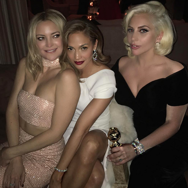 "Kate Hudson, Jennifer Lopez and Lady Gaga posed a triple threat at the <i>InStyle</i> bash. ""There's no one better than these two ladies right here. Made me laugh and filled me with love all night,"" tweeted Gaga. 