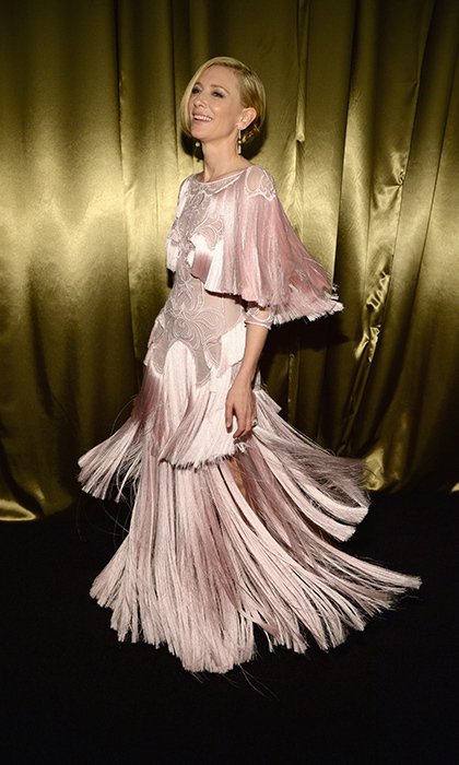 Fashion lovers probably passed out when they saw Cate Blanchett show off her fringed blush pink Givenchy masterpiece at the Weinstein Company And Netflix party. 