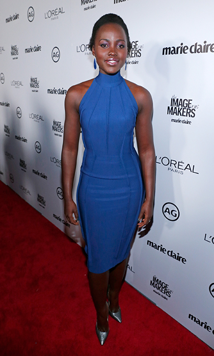 Lupita Nyong'o showcases her flawless physique in a fitted Mugler cocktail dress and matching metallic Giuseppe Zanotti pointy pumps at the <em>Marie Claire</em> Image Maker Awards in Los Angeles.