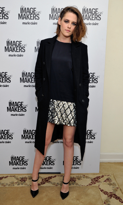 "Kristen Stewart nailed the rocker-chic look with her black blouse and metallic mini-skirt by designer Sally LaPointe, plus Soebedar black patent ""Mary"" pumps, at the the <em>Marie Claire</em> Image Maker Awards.