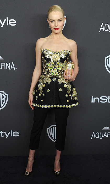 Kate Boswoth in a jewelled peplum top by Dolce & Gabbana at the <em>InStyle</em> and Warner Brother's 2016 Golden Globe Awards Post-Party. 