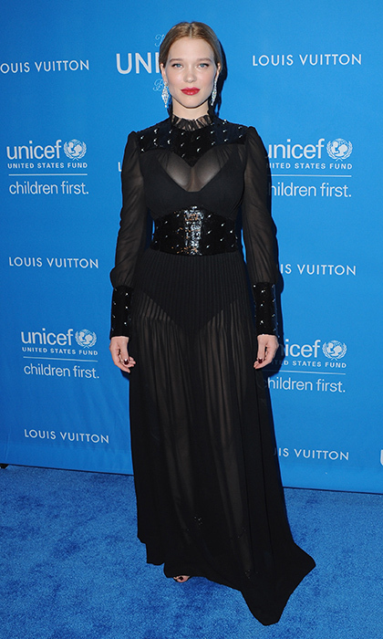 Léa Seydoux in a custom Louis Vuitton bodysuit gown at the Biennial UNICEF Ball in Los Angeles.