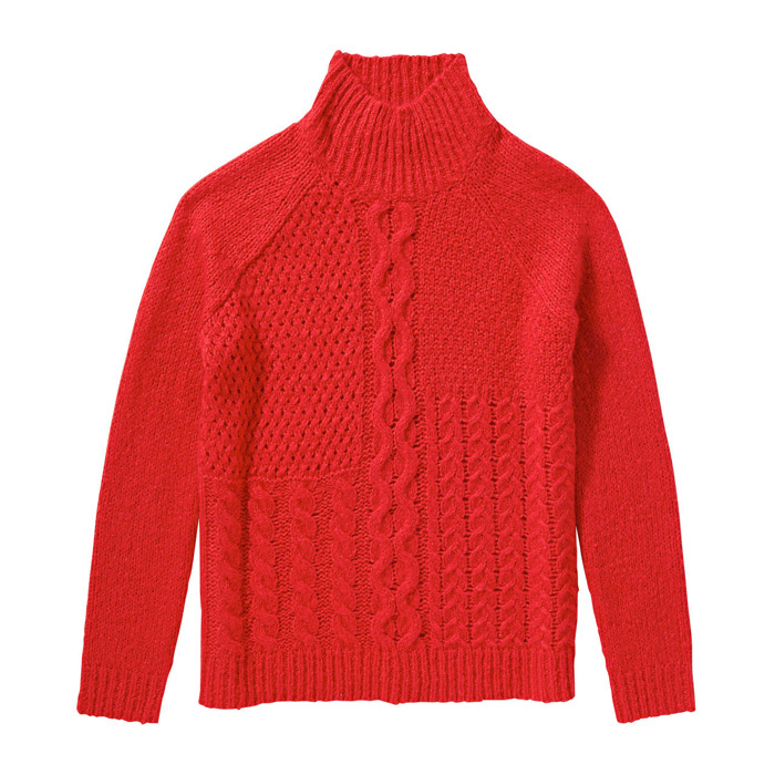 <strong>Red cableknit sweater</strong>, $20,