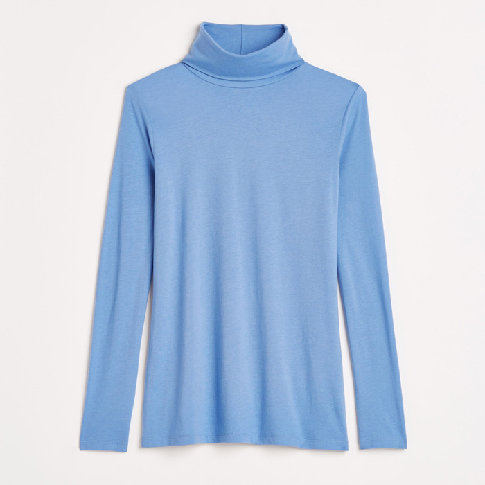 <strong>Long-sleeve turtleneck in light blue</strong>, $59,