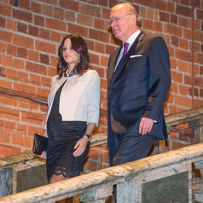 Wearing a lace black dress and cream blazer, Sofia gave royal watchers a glimpse of her burgeoning bump at Sophiahemmet University College's graduation ceremony on Jan. 21. 