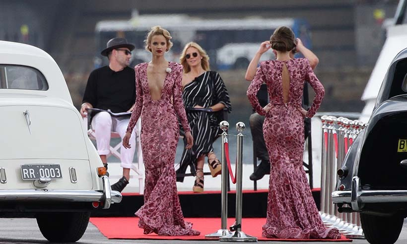 Heidi Klum keeps an eye on aspiring models while filming scenes in Australia for the next season of <i>Germany's Next Top Model</i>.
