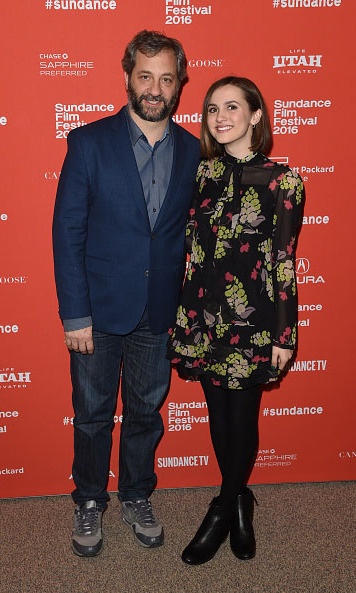 January 21: Director Judd Apatow and his not-so-little girl Maude posed on the carpet during the premi&egrave;re of her new film <em>Other People.</em>