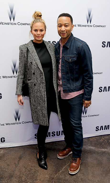 January 24: Football date night! Parents-to-be John Legend and Chrissy Teigen warmed up inside the Weinstein Sundance Bowl Football Party at the Samsung Studio.
