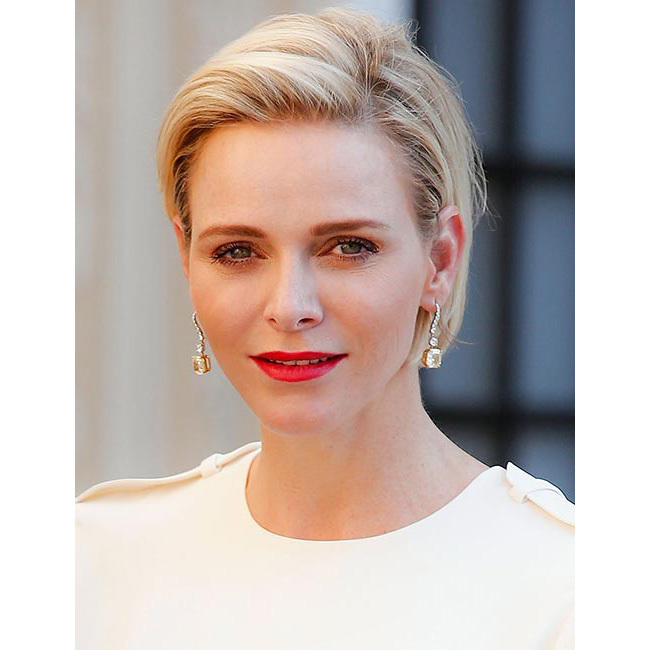 Princess Charlene looked every inch a beauty icon, opting for a sleek bob and a slick of statement matte red lipstick as she stepped out for the Monte Carlo TV festival.