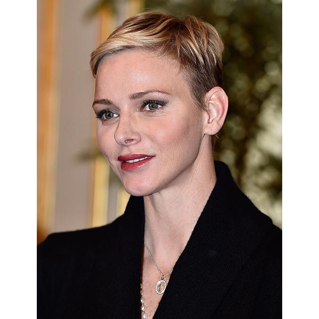 Princess Charlene gave us major short-hair envy when she debuted a gorgeous new pixie cut hairstyle in November 2015, complementing her new 'do with a slick of statement lipstick and shimmering metallic eyeshadow.
