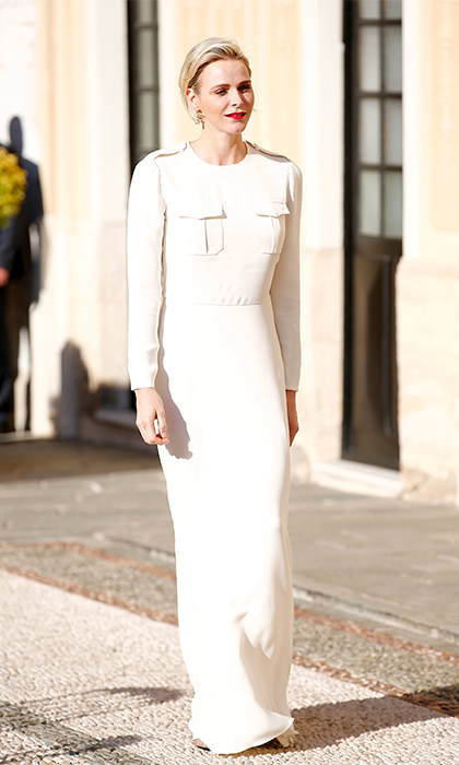 Prince Albert's wife was a stylish host at the 55th annual Monte Carlo Television Festival in June 2015. Just six months after delivering her twins, Charlene showed off her post-baby figure in a long-sleeved floor-length gown with pocket details.