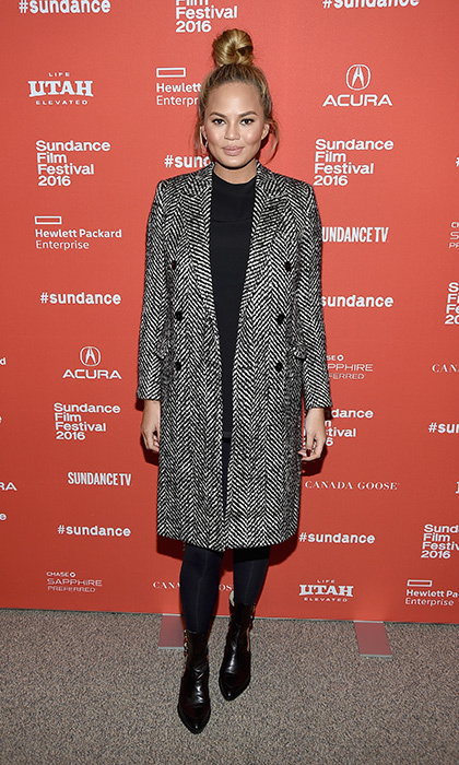 Chrissy stayed warm in a herringbone winter coat at the 2016 Sundance Film Festival in Utah. 