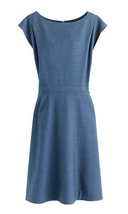 <strong>Cap-sleeve dress in Super 120S wool</strong>, $262,