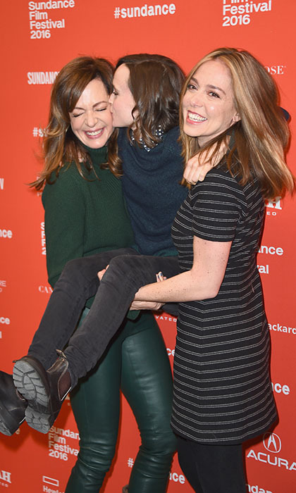 Ellen Page hitches a ride from Allison Janney (L) and director Sian Heder at the premiere of <i>Tallulah</i> during the 2016 Sundance Film Festival. 