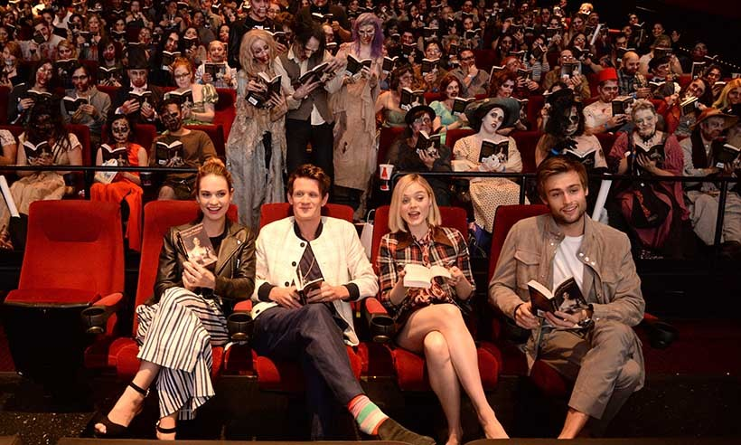 The cast of <i>Pride and Prejudice and Zombies</i> (From left: Lily James, Matt Smith, Bella Heathcote and Douglas Booth) kicked back with movie fans at a screening of the parody flick in Los Angeles. 