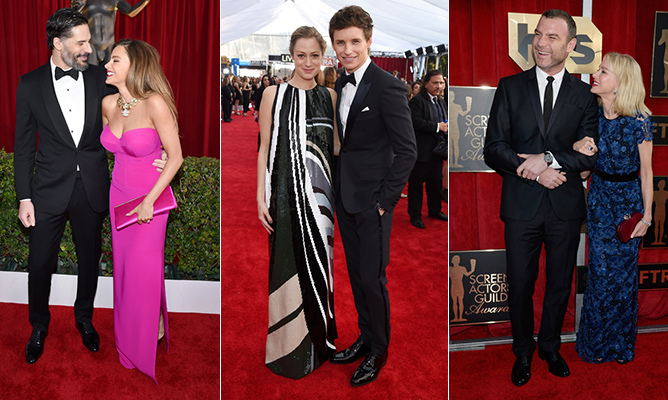 Love was heavy in the air at the 2016 SAG Awards, where Hollywood couples strolled down the red carpet like smitten teenagers. Newlyweds <b>Sofia Vergara</b> and <b>Joe Manganiello</b> couldn't take their eyes off each other, while <b>Eddie Redmayne</b> doted on his pregnant wife <b>Hannah Bagshawe</b>. Longtime loves <b>Naomi Watts</b> and <b>Liev Schreiber</b> shared a laugh, showing the spark is more than alive in their relationship. 