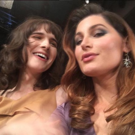 <i>Transparent</i> stars Hari Nef (L) and Trace Lysette posed for a selfie during the awards ceremony. 